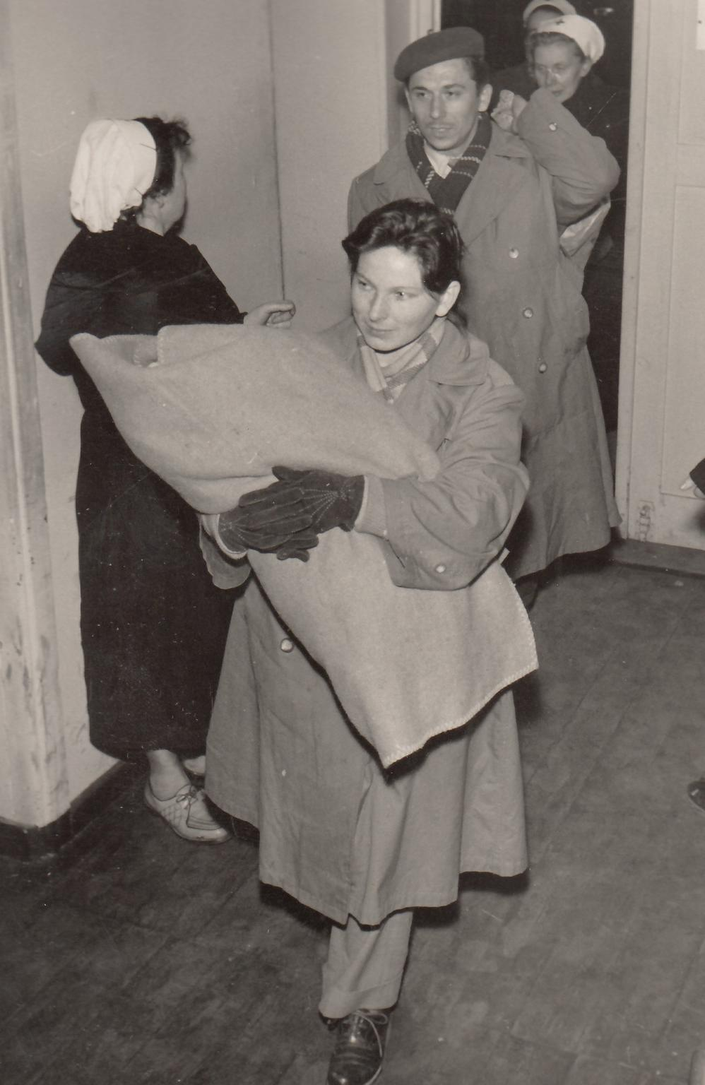 Refugees from Hungary arriving in the transit camp, 1956